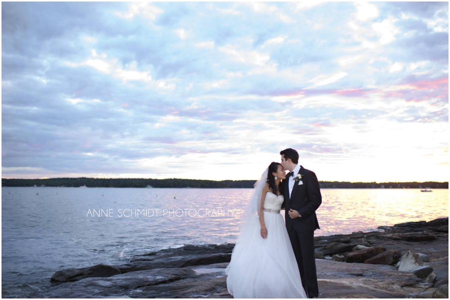 Boothbay wedding photographer at Sprucepoint Inn at sunset