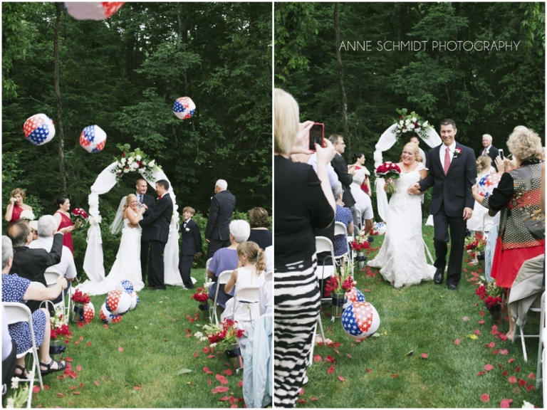 beach balls at July 4th wedding Maine