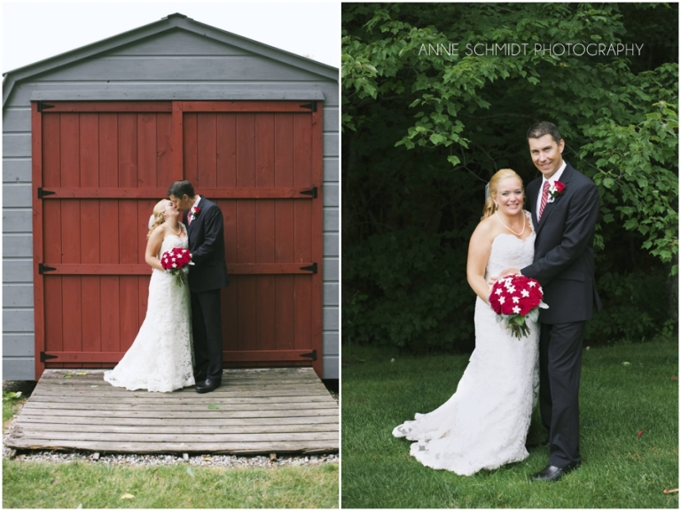red white and blue wedding in Maine