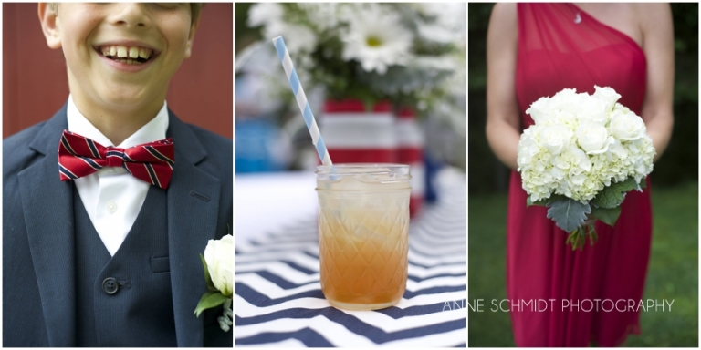 red, white and blue wedding in Maine