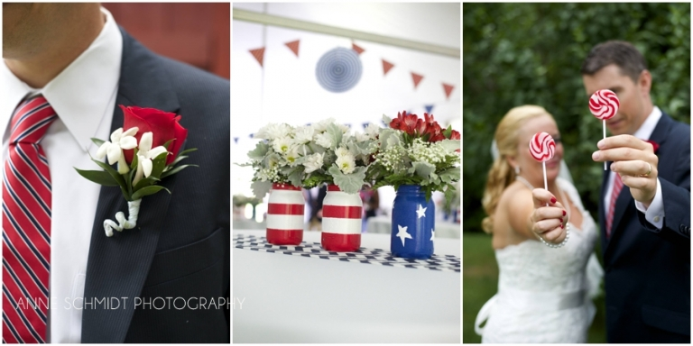 DIY red, white and blue wedding in Maine