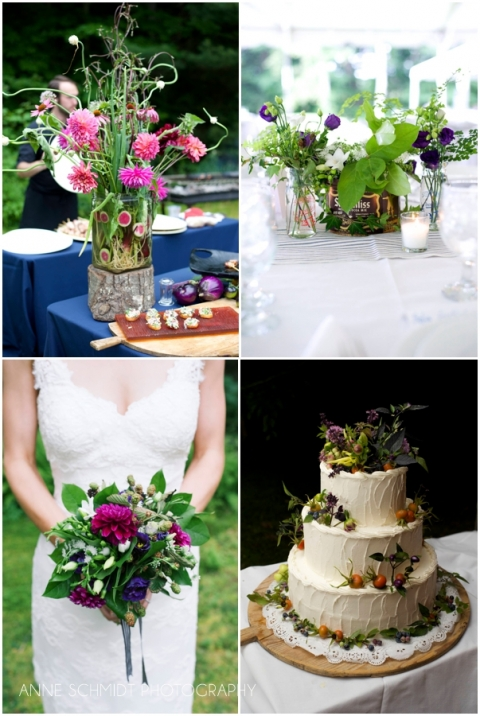 wedding bouquets with blackberries and dahlias