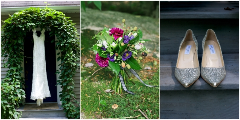 woodsy bouquet with blackberries and dahlias