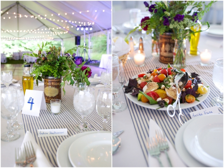 vintage tins with woodsy flower centerpieces