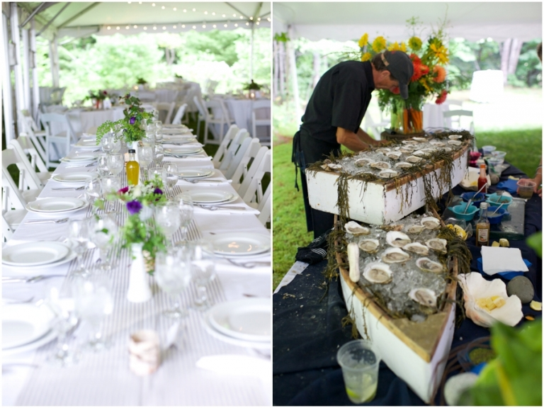 raw oyster bar at Maine wedding