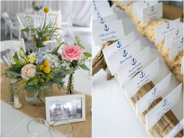 anchor place cards at wedding on Peaks Island in Maine