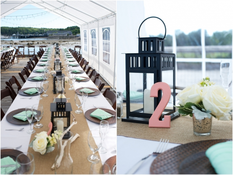 driftwood and roses centerpieces Maine wedding