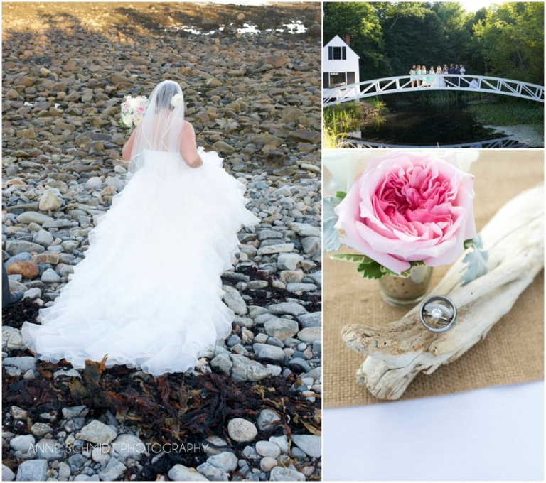 Maine wedding with driftwood and roses