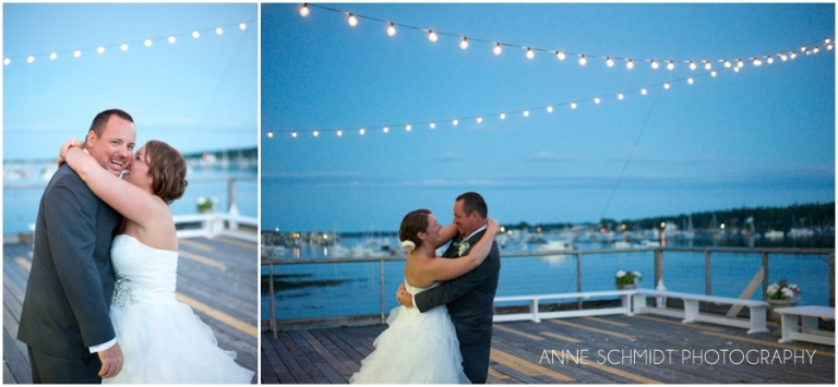 sunset wedding on the ocean in Maine