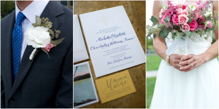 pink and gold wedding in Bar Harbor Maine