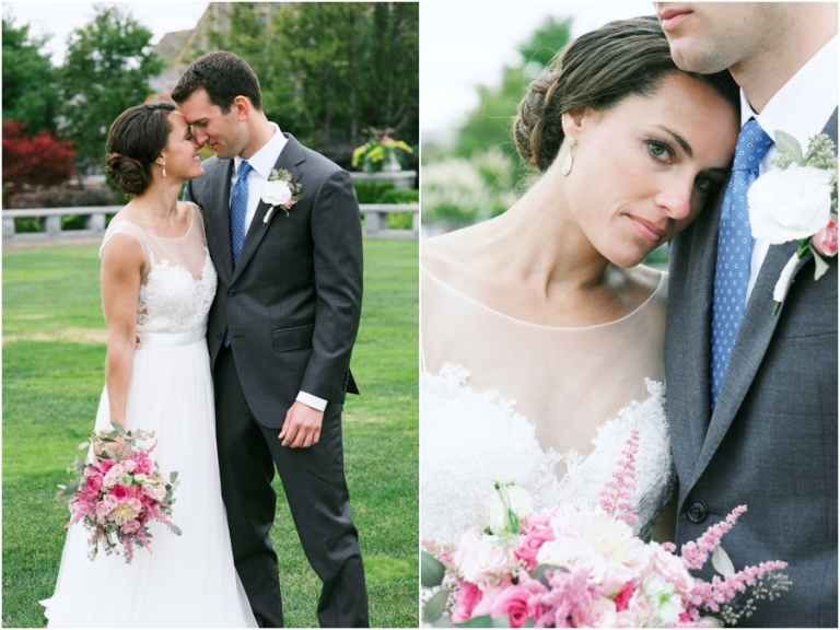 bride with pink bouquet at Bar Harbor Maine wedding