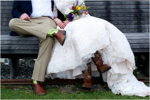 cowboy boots at Maine wedding