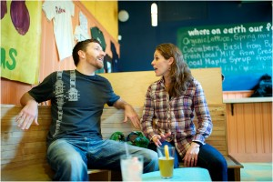 bowling alley engagement photos