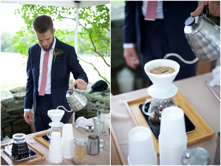 pourover coffee at wedding