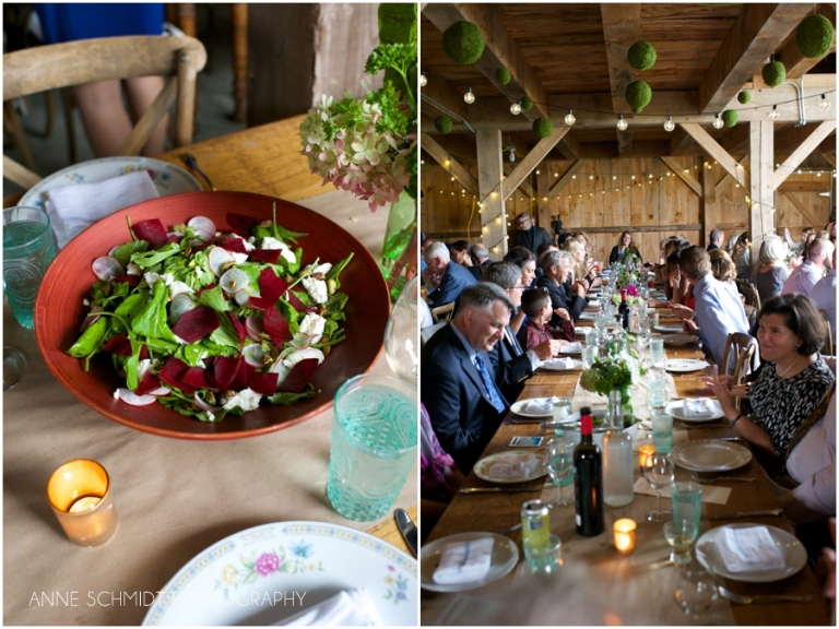 beet salad and family style barn wedding